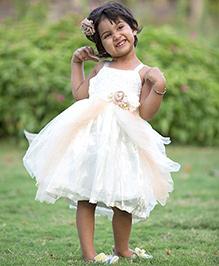 Whostiny Sleeveless Net Party Dress - Beige & White