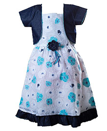 Whostiny Singlet Dress With Shrug Floral Applique - White And Blue