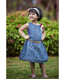 Whostiny Sleeveless Dress With Belt Polka Dots - Blue And White