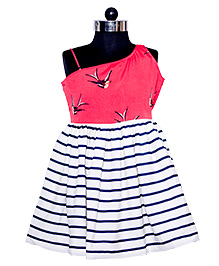 Nappy Monster Bird Printed Dress With Stripes - Pink & White