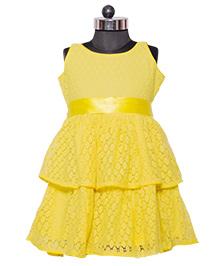 Nappy Monster Layered Lace Dress - Yellow