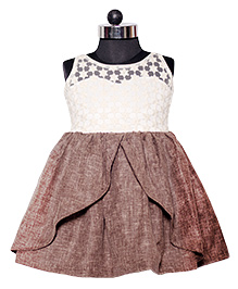 Nappy Monster Lace Linen Princess Dress - Off White & Brown