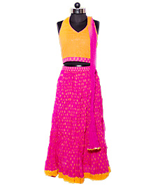 Nappy Monster Halter Neck Blouse Lehenga & Dupatta Set - Orange & Pink