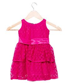 Nappy Monster Layered Lace Dress - Fuchsia