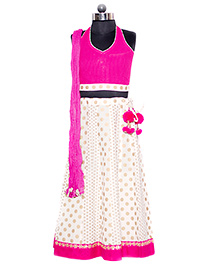 Nappy Monster Halter Neck Blouse Lehenga & Dupatta Set - Pink & Off White