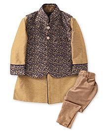 Robo Fry Indo Western Style Kurta And Pyjama With Jacket - Navy And Golden