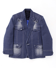 Robo Fry Party Wear Denim Jacket And T-Shirt - Blue