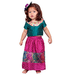 Chubby Cheeks Half Sleeves Choli And Polka Dots Print Lehenga Set - Purple & Green