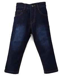 Babyhug Denim Jeans With Five Pockets - Dark Blue