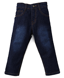 Babyhug Denim Jeans With Five Pockets - Dark Blue