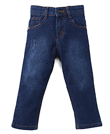 Babyhug Denim Jeans With Five Pockets - Blue