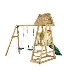 Plum Indri Climbing Frame Outdoor Play Centre With Double Swing Slide And Picnic Table - Multicolor