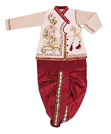 Yashasvi Full Sleeves Kurta And Dhoti Thread Detailing - Off White Maroon
