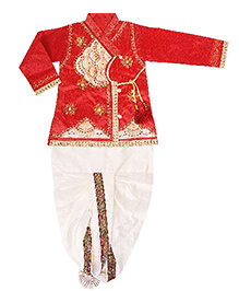 Yashasvi Full Sleeves Kurta And Dhoti Sequin Detailing - Red White