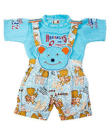 Yashasvi Dungaree With Half Sleeves T-shirt - Aqua Blue