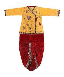 Yashasvi Full Sleeves Kurta And Dhoti Sequin Detailing - Yellow Red