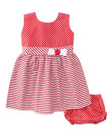 Babyhug Sleeveless Striped And Dotted Frock With Bloomer - Red