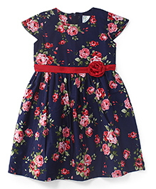 Babyhug Short Sleeves Frock Floral Print - Blue