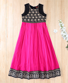 Twisha Elegant Gown With Embroidered Bodice - Hot Pink