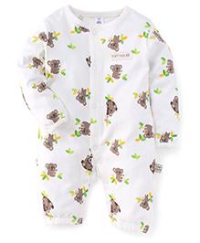 ToffyHouse Full Sleeves Sleep Suit Bear Print - Off White