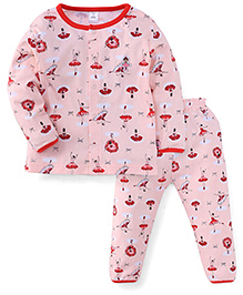 ToffyHouse Full Sleeves Night Suit Dancing Doll Print - Peach