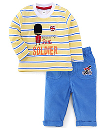 ToffyHouse Full Sleeves T-Shirt Mummy's Little Soldier Print And Pant - Lemon & Blue