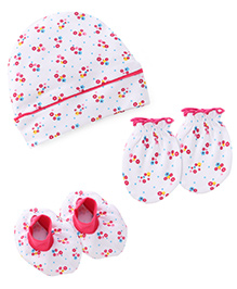 Babyhug Floral Print Cap Mittens And Booties Set - White And Pink