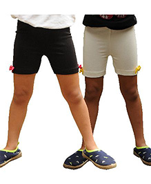 Snowflakes Cycling Shorts Bow Applique Pack of 2 - Black White