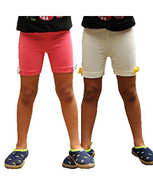 Snowflakes Cycling Shorts Bow Applique Pack of 2 - Pink White