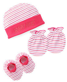 Babyhug Stripes Print Cap Mittens And Booties Set - Pink