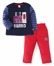 ToffyHouse Full Sleeves T-Shirt And Pant Set Award Print - Blue Red