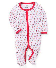 Babyhug Full Sleeves Striped Footed Sleepsuit - Pink & White