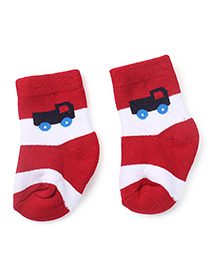 Cute Walk by Babyhug Socks Truck Print - Red White