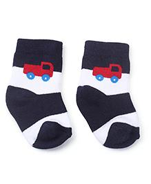 Cute Walk by Babyhug Socks Truck Print - Blue White