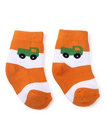 Cute Walk by Babyhug Socks Truck Print - Orange White