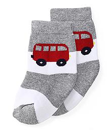 Cute Walk by Babyhug Anti Bacterial Socks Bus Design - Melange Grey Red And White