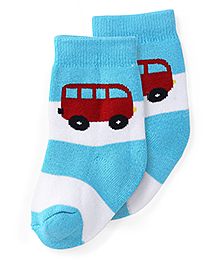 Cute Walk by Babyhug Anti Bacterial Socks Bus Design - Blue Red And White