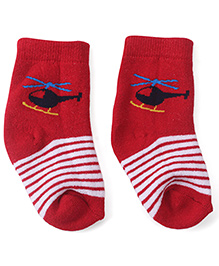 Cute Walk by Babyhug Ankle Length Socks Helicopter Design - Red