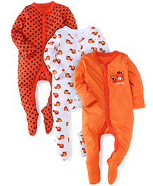 Mothercare Full Sleeves Sleep Suit Tiger Print & Embroidery Pack Of 3 - White And Orange