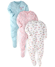 Mothercare Full Sleeves Multiprint Sleep Suits Pack of 3 - Pink White Turquoise