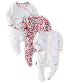 Mothercare Full Sleeves Sleep Suit Floral And Bunny Print Pack Of 2 - White Pink Off White