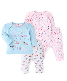 Mothercare Full Sleeves Night Suits Pack of 2 - Pink Turquoise Blue White