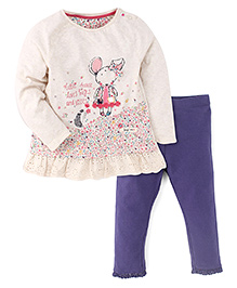 Mothercare Long Sleeves Little Mouse Print Dress And Leggings - Cream & Navy Blue