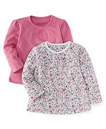 Mothercare Full Sleeves Plain And Floral Print T-Shirt Pack Of 2 - Pink & White