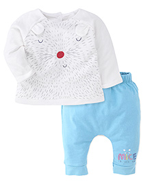 Mothercare Full Sleeves Printed Tee and Diaper Leggings - White & Turquoise