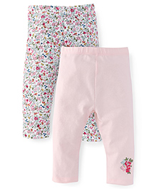 Mothercare Full Length Solid And Printed Leggings Pack of 2 - Light Pink & White