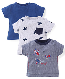 Mothercare Short Sleeves Solid And Multi Print T-Shirt Pack Of 3 - Blue & Grey