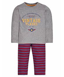 Mothercare Full Sleeves Vintage Planes Print T-Shirt And Stripes Pajama - Grey & Maroon