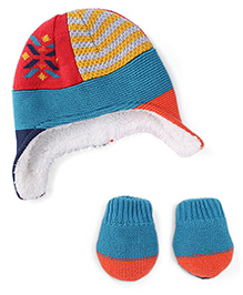Mothercare Multi Design Mittens & Cap Set - Blue Red Yellow