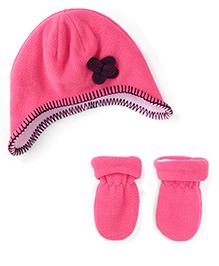 Mothercare Mittens & Cap Set Floral Applique - Pink
